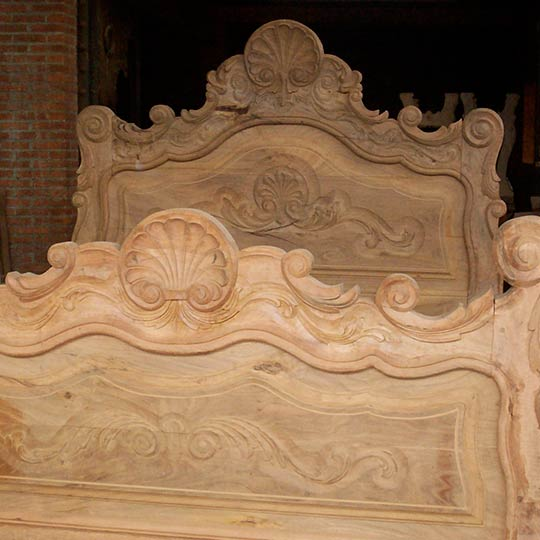 Hand Carved Custom Mesquite Bed Unfinished