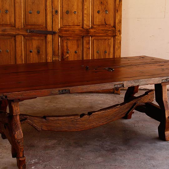 Antique Mexican Door Dining Table With Oxen Yoke Base